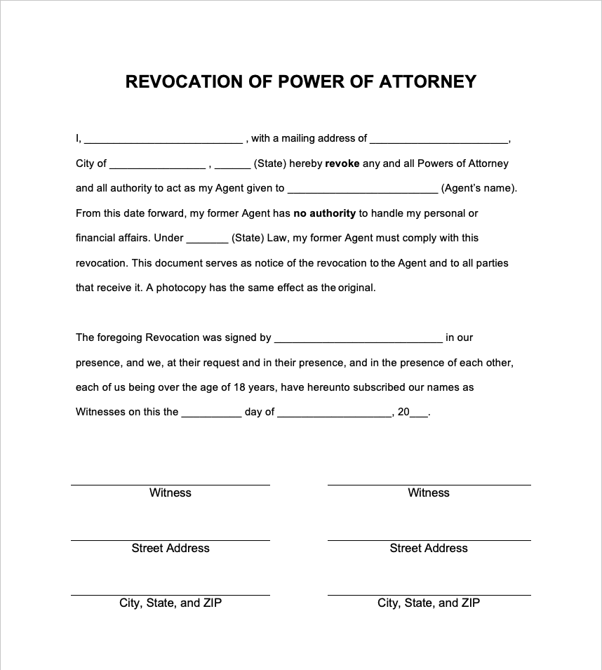 revocation of power of attorney sample form